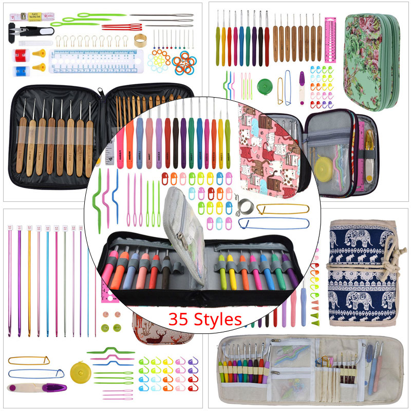 Premium Crochet Hooks Set With Case 35 Styles Knitting Needles Set DIY Needle Arts Craft Scissors Stitch Markers Sewing Tools