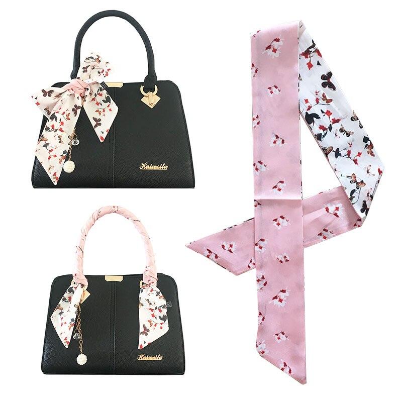 2019 nueva mariposa pequeña bufanda de seda estampada Floral negro blanco rosa bolsa bufandas mujeres cabeza flaco bufanda ASA bolsa cinta abrigo