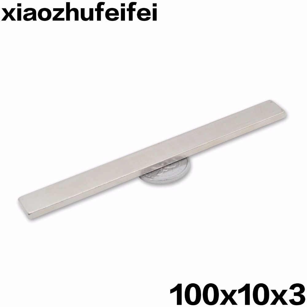 10pcs100mmx10mmx3mm N42 bloque 100x10x3mm rectángulo fuerte barra NdFeB neodimio imanes permanentes de tierras raras Magnets100 * 10*3