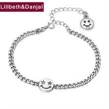 2019 Survival Girl Smiley face Star Bracelet 100% 925 Sterling Silver Jewelry Women Creative Name friendship Bracelet Bangle B61
