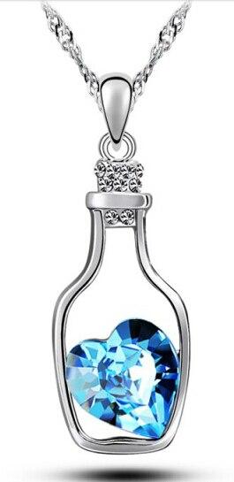 Áustria cristal coração pingente oceano garrafa encantos moda feminina jóias acessórios presentes adorável presente frete grátis qualidade superior