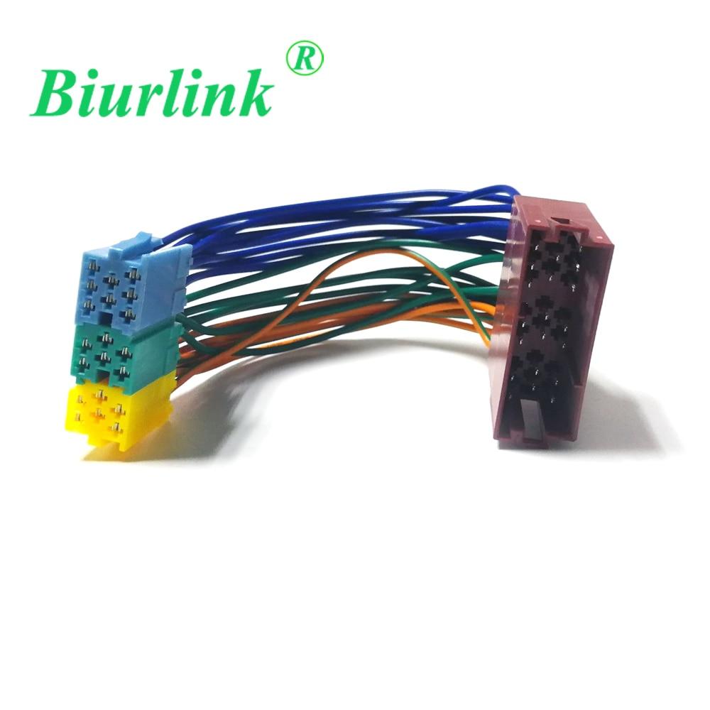 Adaptador de Cable de arnés de CD de coche Biurlink macho a hembra Mini ISO 20 conectores con clavijas para concierto de Volkswagen Blaupunkt Becker