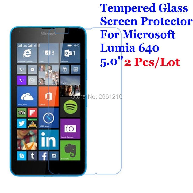 2 unids/lote para Lumia 640 de vidrio templado 9 H 2.5D Premium...