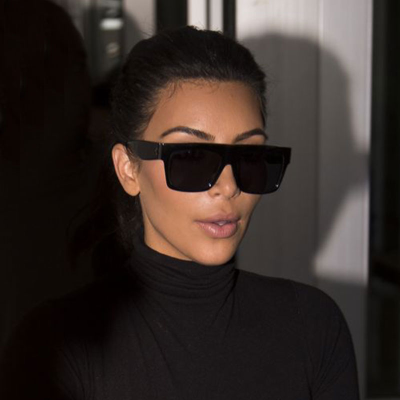 Hot Kim Kardashian Sunglasses Lady UV400  Women Men Sun Glasses 50S Female Flat toP Italy Brand Designer famousSquare Celebrity