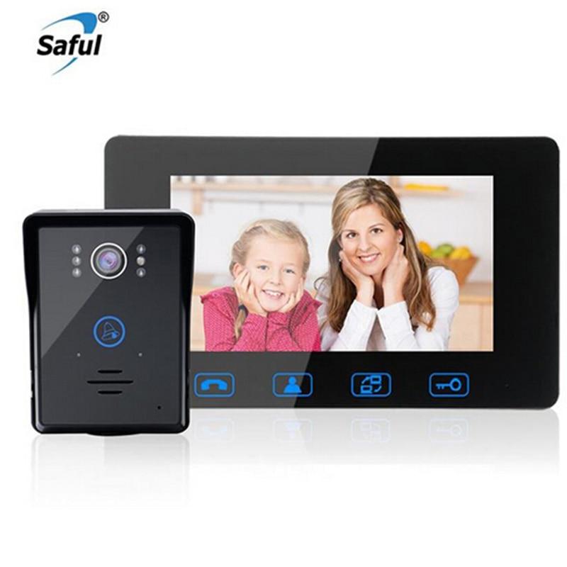 Saful 7 ''TFT LCD السلكية الفيديو باب الهاتف للماء اللمس مفتاح فيديو إنترفون مع للرؤية الليلية الكهربائية إفتح الجرس للمنزل