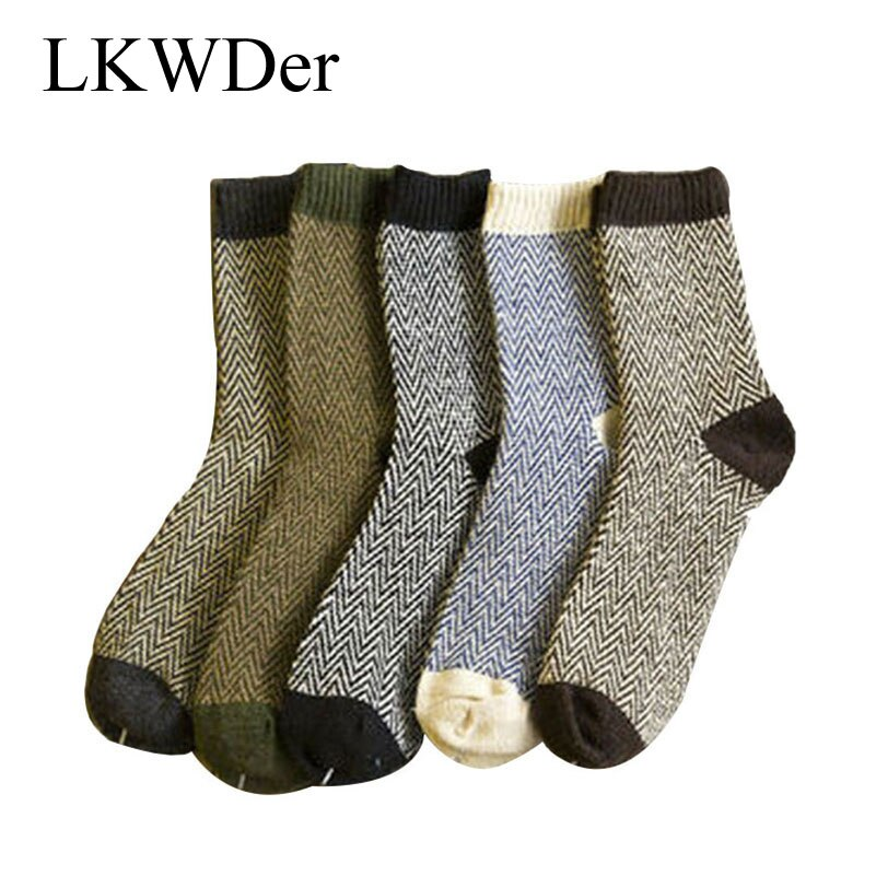 LKWDer 5 pares hombre cálido invierno grueso Angora cachemir vestido Casual lana mezcla calcetines hombres onda estilo la lana extendida calcetines de la tripulación