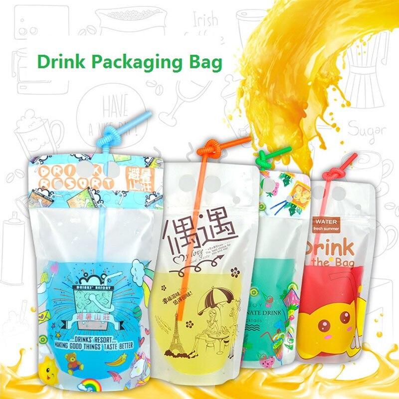 500 unids/lote 500ml diseño lindo Stand Up plástico bebida bolsa de empaque para bebidas agua, zumo, leche Café, con mango de agujero