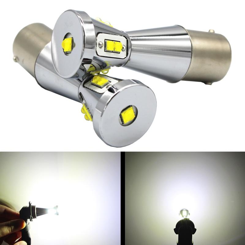 2pcs 1156 BA15S P21W 1157 BAY15D T20 7440 7443 T25 3156 3157  White Turn Signal Reverse Brake lights LED car bulbs 45W 12V 24V
