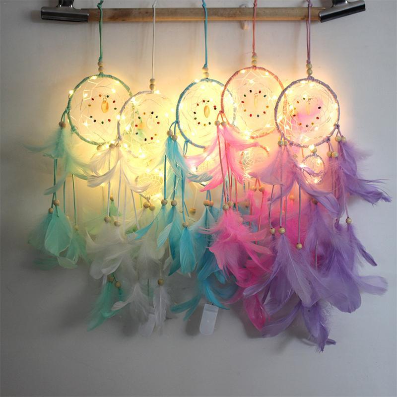 1 шт., индийский Ловец снов, освещение, перо, Ловец снов, с 2 м струнным светом, ночная лампа для детской спальни, подвесное украшение