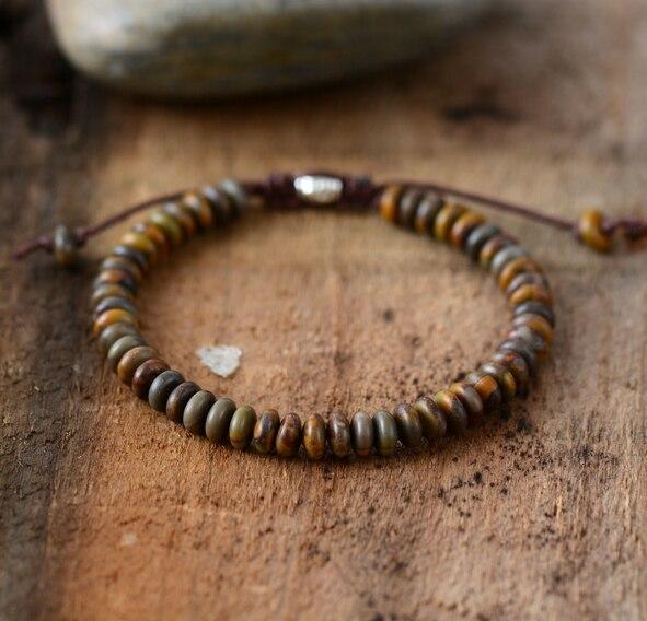 Men Bracelet Disc Shape Stone Friendship Bracelets Handmade Mens Beads Punk Bracelet Couples Bracelets Jewelry Dropship