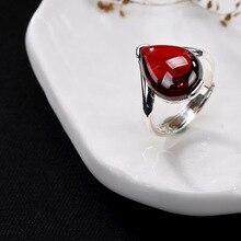 Pur argent inlay calcédoine grenade rouge corindon bleu grès contracté femmes en gros de haute qualité ouverture anneau