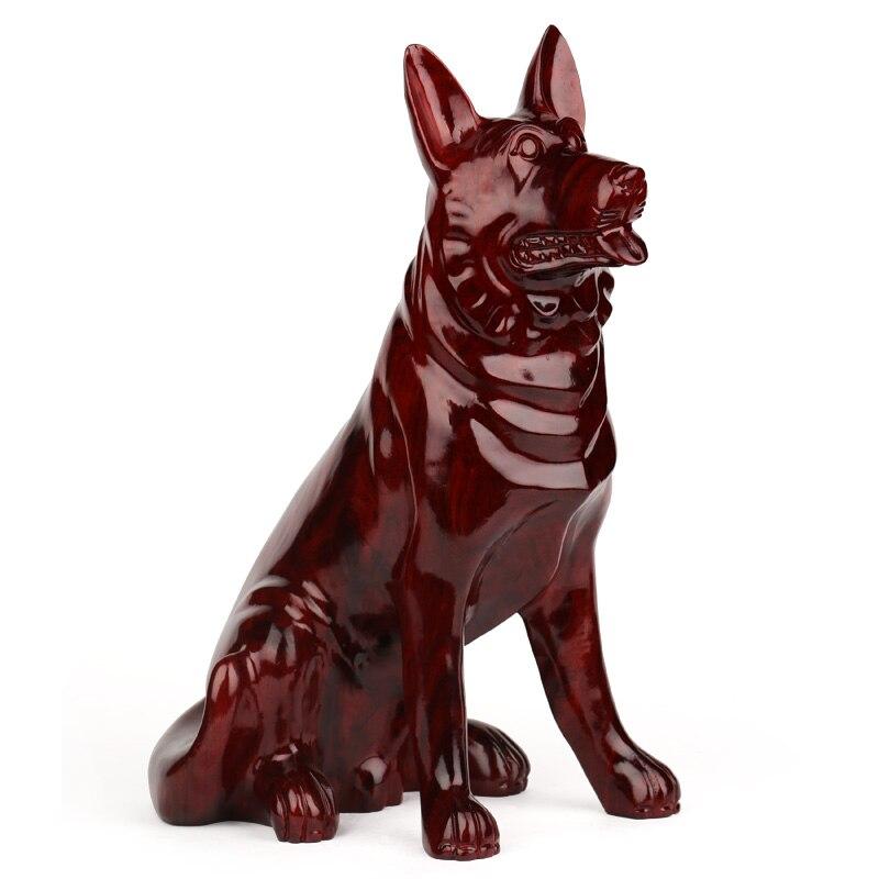 Escultura em Madeira Escultura em Madeira de Mogno Presente de Aniversário do Cão Decoração Mogno Artesanato Mobiliário Doméstico Grande 50 Zodíaco de Cão