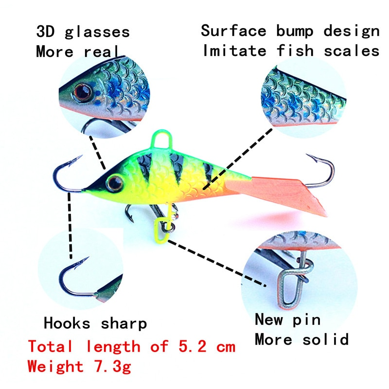 KKWEZVA 4pcs/lot 52mm 7.3g Jig for Fishing Lure winter Ice Fishing Hard Bait Minnow Pesca Tackle Isca Artificial Bait Crankbait enlarge