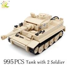 HUIQIBAO 995 pièces militaire allemand roi tigre réservoir bloc de construction réservoir soldat Figure briques jouets éducatifs pour les enfants