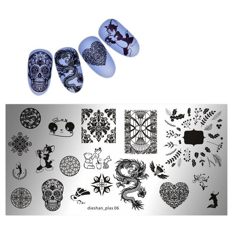 1PC New Nail Stamping Plates SKull/Dragon Pattern Image Stamping Printing Plates DIY Nail Art Stamping Templates Tools 6*12 cm