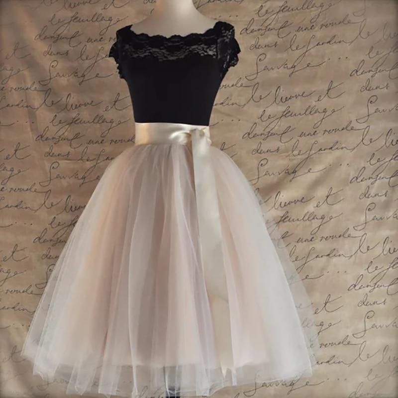 26 Colors 5 Layered 65cm Knee Length Tulle Skirt Tutu Women Skirt High Waist Pleated Skirt Cosplay Petticoat Elastic Belt Faldas