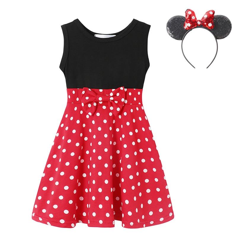 """Для детей ясельного возраста платье «Минни-Маус», черный, красный горошек лоскутное платье-майка платье с бантом, одежда с героями мультфильмов костюмы """"Микки"""" Летнее платье для маленьких девочек повседневная одежда"""