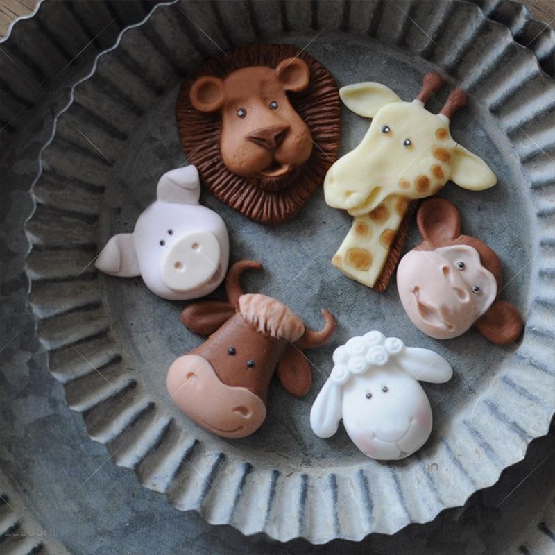 Cartoon Monkey Lion Giraffe Sheep Pig Cow Soap Silicone Mold Animal Silicone Mold Cake Decoration Tool Fondant Chocolate Resin