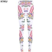 KYKU Unicorn Leggings Flower 3d pants Pink Sexy Leggings  High Waist  leggins  Trousers Women Jeggins Funky Fitness Elastic New