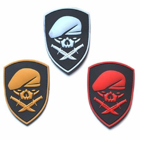 Remendos de borracha do pvc da moral tática militar do exército dos soldados esqueleto para a roupa emblema da roupa apliques emblemas