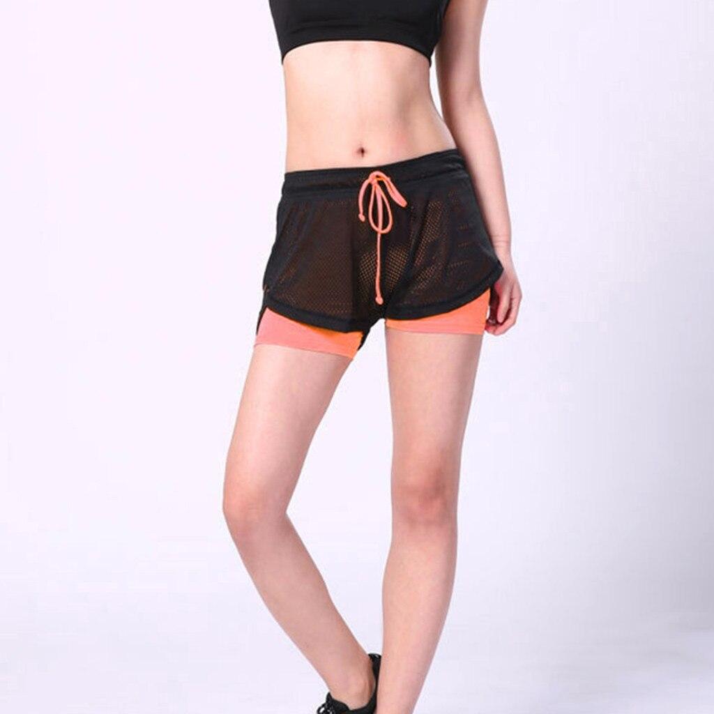 Pantalones cortos de deporte para mujer Blesskiss, ropa deportiva de verano de malla para entrenamiento, pantalones cortos antivaciados de secado rápido para Fitness al aire libre 5,2