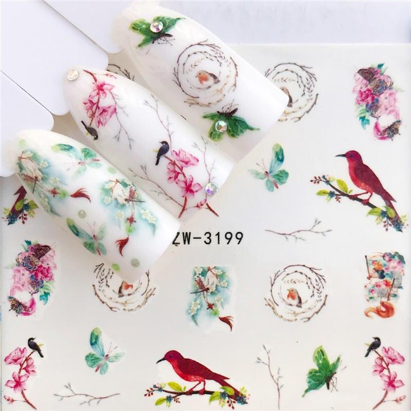 YZWLE, 1 hoja, pegatina para decoración de uñas, flores, dibujos animados, transferencias de agua, calcomanías, diseño de aves, marca de agua, decoración deslizante