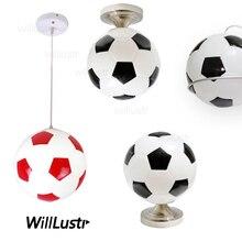 Lampe pendentif en verre pour le football, suspension en verre pour le football à la main, luminaire déclairage à la boule ronde, bar de lhôtel, chambre denfants