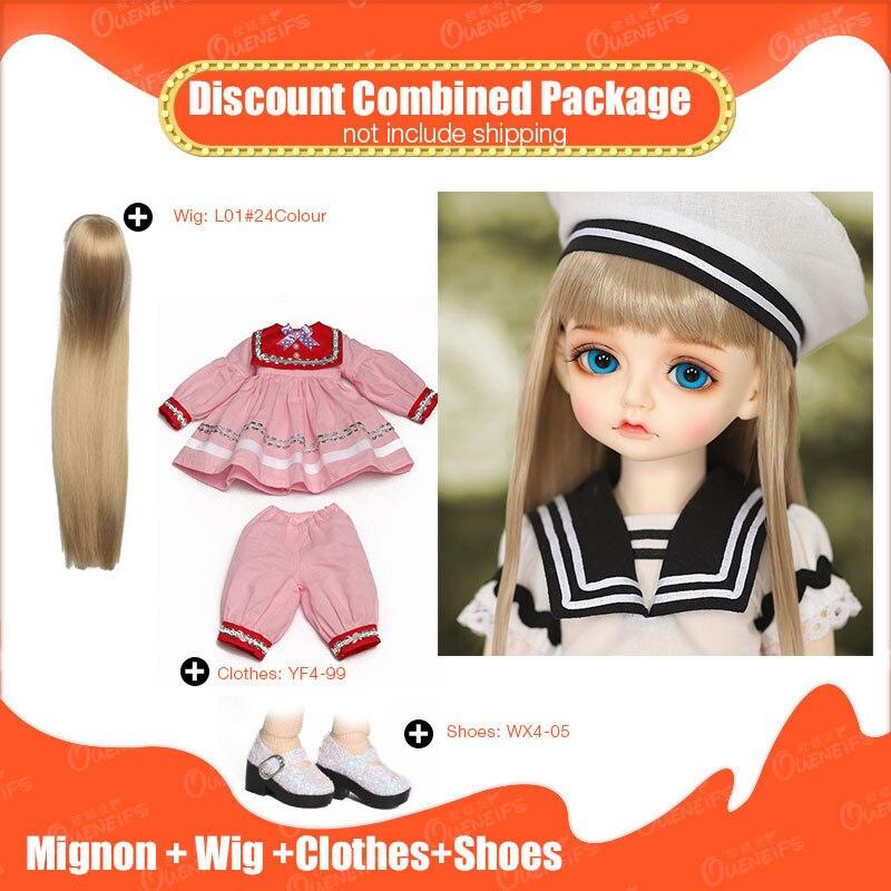 OUENEIFS 1/4 muñeca BJD SD hermosos juguetes de resina RL Doll RS Mignon con peluca ropa zapatos descuento paquete combinado