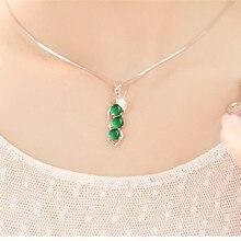 Naturel vert calcédoine pendentifs 925 argent couleur collier Jade Bizuteria pour les femmes bijoux femme joya pierres précieuses pendentifs bijoux