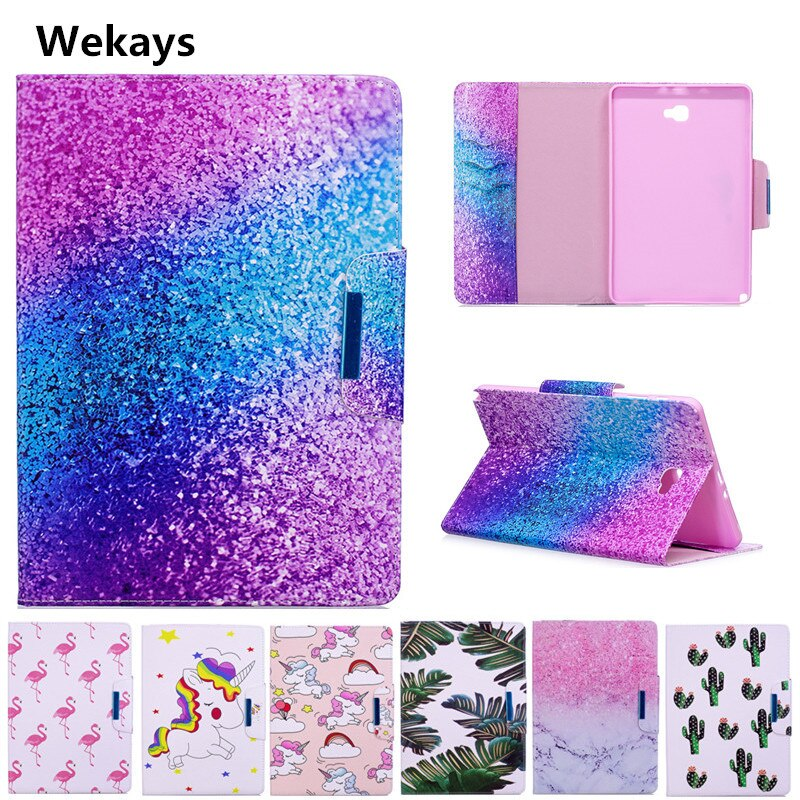 Wekays Case for Samsung Galaxy Tab A 6 A6 10.1 P580 P585 Cute Cartoon Flamingo Unicorn PU Flip Leather Cover Case Fundas Capa
