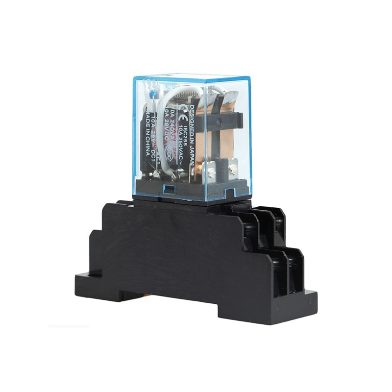 10 zestawów/partia Brand New 220V AC DC przekaźnik zasilania cewki przekaźnik miniaturowy DPDT 8 pinów 10A 2 z PTF08A podstawa gniazda