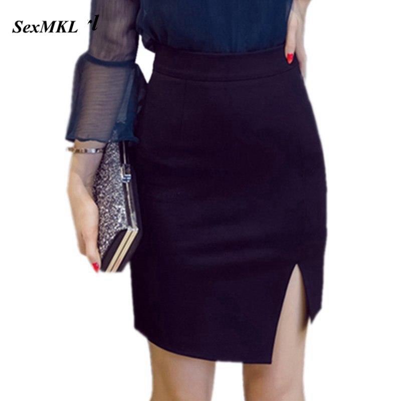 S-5XL faldas de tubo negras para mujer 2020, faldas Midi sexis ajustadas de verano informales de cintura alta para mujer, minifalda ceñida azul de oficina para mujer, talla grande