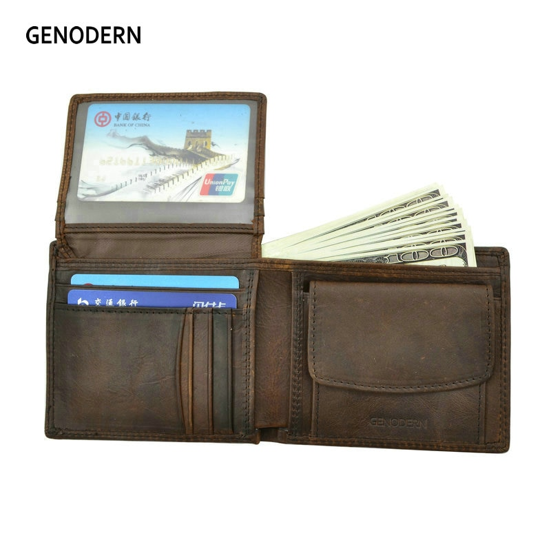 GENODERN Cow Leather Men Wallets with Coin Pocket Vintage Male Purse Function Brown Genuine Leather