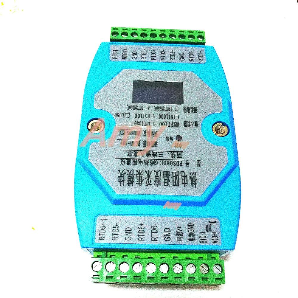 وحدة الحصول على درجة الحرارة ذات 6 اتجاهات PT100 PT1000 ، جهاز إرسال درجة الحرارة MODBUS ، RTU