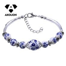 AKOLION-Bracelet en porcelaine bleu et blanc pour femmes, impression céramique fait à la main, bricolage National, accessoires Btsl -- 23, 2019