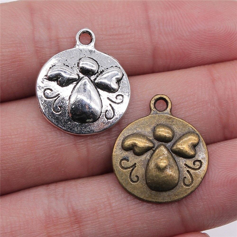8 piezas, 21x18mm, 2 colores, plata antigua, Bronce Antiguo, chapado en ángel de la guarda, amuletos de Ángel, amuletos redondos