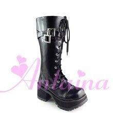 Princesse douce lolita Lolilloliyoyo antaina gothique cos chaussures personnalisé lolita cos punk plate-forme zipper-9035 HARAJUKU PU plume