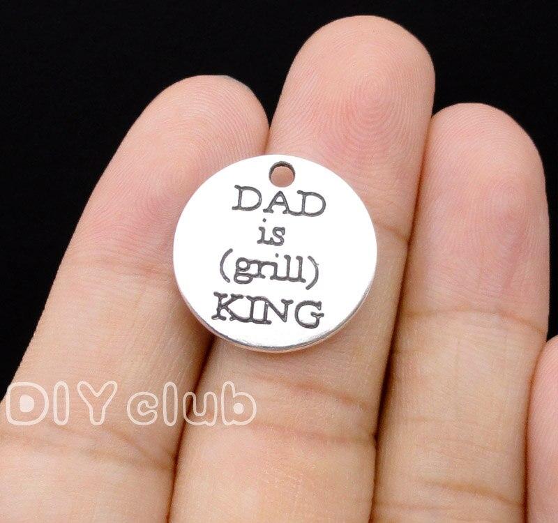 40pcs-plata Antigua/colgante de bronce para papá es Grill King Charms 20mm