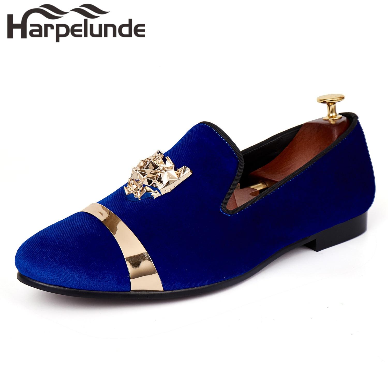 Harpelunde-حذاء موكاسين مخملي للرجال ، حذاء مسطح بإبزيم على شكل حيوان ، لون أزرق ، مع لوحة ذهبية ، مقاس 6-14