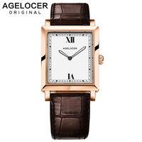 Agelocer Dress Watches Luxury Gold Watch Quartz Watches Genuine Leather 3401D2