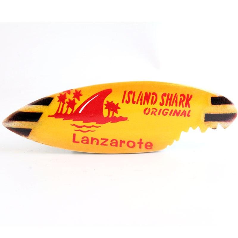 Diseño de tabla de surf de Lanzarote España imán de nevera souvenir