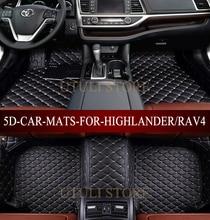 Lederen Auto vloermatten voor Toyota Fortuner Harrier Hilux Innova Highlander RAV4 custom fit auto tapijt vloer voet matten