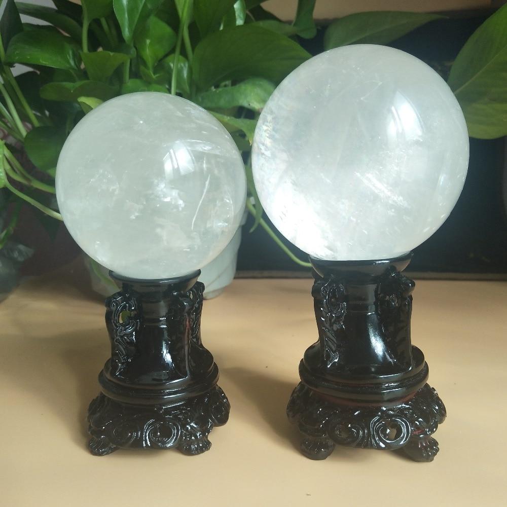 Bola de cristal mineral natural de calcita de 70/80mm, Bola de decoración para el hogar pulida + soporte de madera