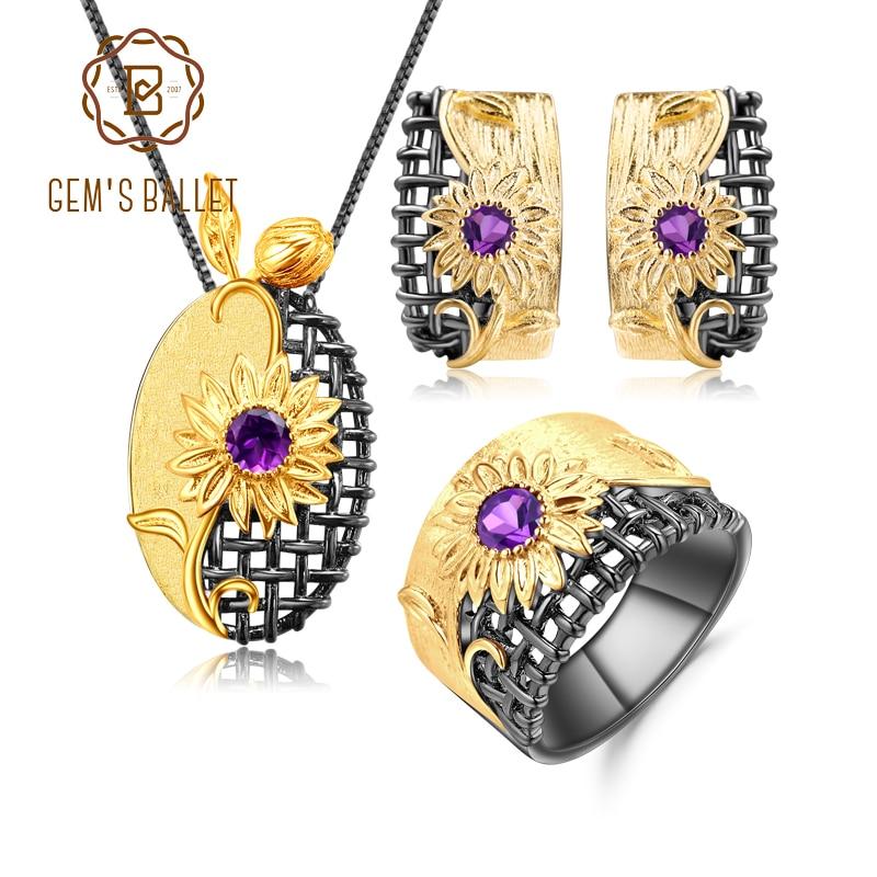 GEM'S الباليه-طقم مجوهرات من الفضة الإسترليني عيار 925 ، أقراط ، جمشت طبيعي ، قلادة ، أحجار كريمة ، صناعة يدوية ، حفلة ، للنساء