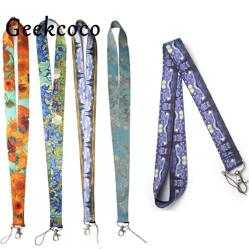 Van gogh painting diy keychains Accessory Safety Breakaway Mobile Phone USB ID Holder Key Strap Neck lanyard J0253