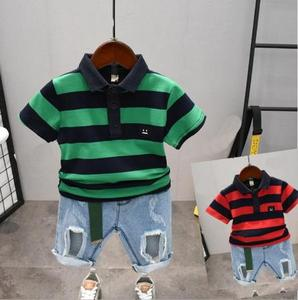 Boy clothing fashion baby suit boy summer striped T-shirt + denim hole shorts casual suit suitable for 2-6 years old