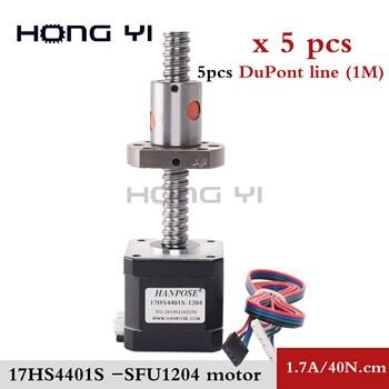 3D printer motor 5PCS nema 17 stepper motor ballscrew 42BYGH 17hs4401S- SFU1204 ballnut cnc engraving machine
