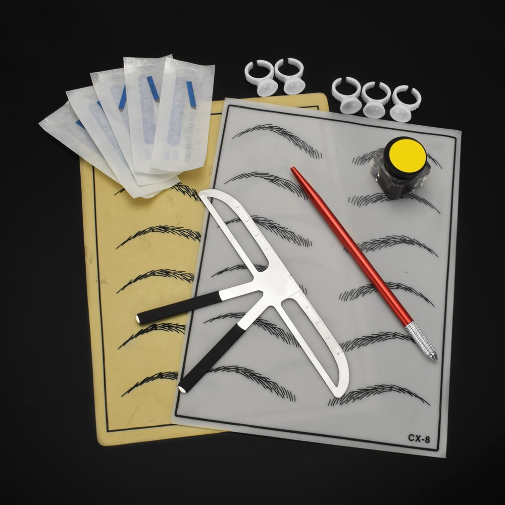 Kit de suministros de Microblading Para ceja Prastics Skin, Kits profesionales Para entrenamiento de Microblading, juego de práctica de Gel de sílice de Tauaje