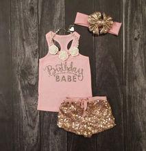 Emmababy ankunft Nette Kleinkind Kinder Baby Mädchen Kleidung Rosa Brief Weste Strampler Top Pailletten Gold Kurze Stirnband 3PCS Outfit