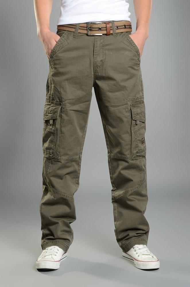 Мужские брюки карго, повседневные мужские брюки, мешковатые, обычные, хлопковые брюки, мужские военные тактические штаны с несколькими карм...